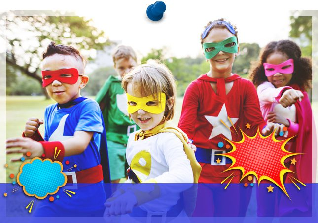 photo of kids dressed up as super heroes