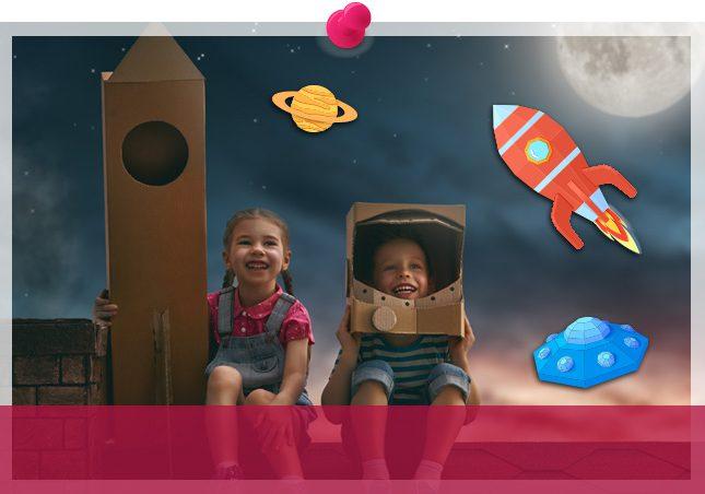 kids pretending to be astronauts