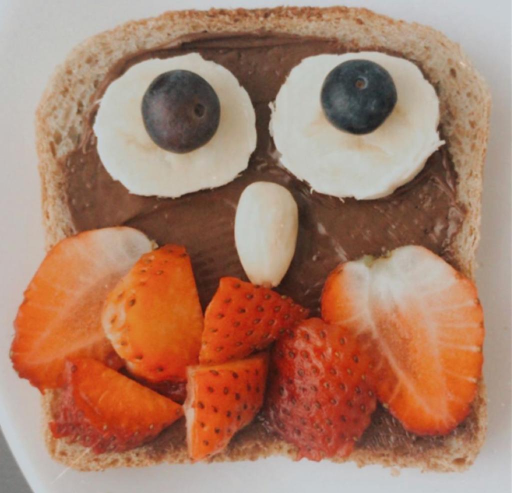 Toast made to look like an owl