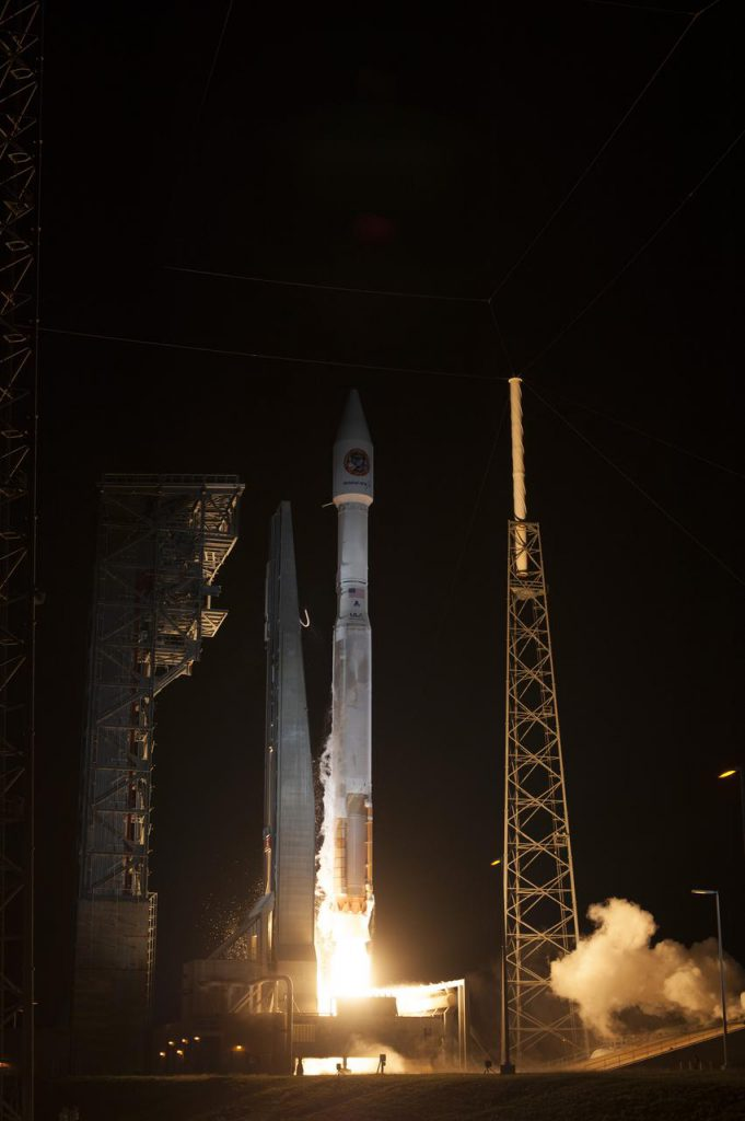 A United Launch Alliance Atlas V rocket lifts off from Space Launch Complex 41 at Cape Canaveral Air Force Station carrying an Orbital ATK Cygnus resupply spacecraft on a commercial resupply services mission to the International Space Station.